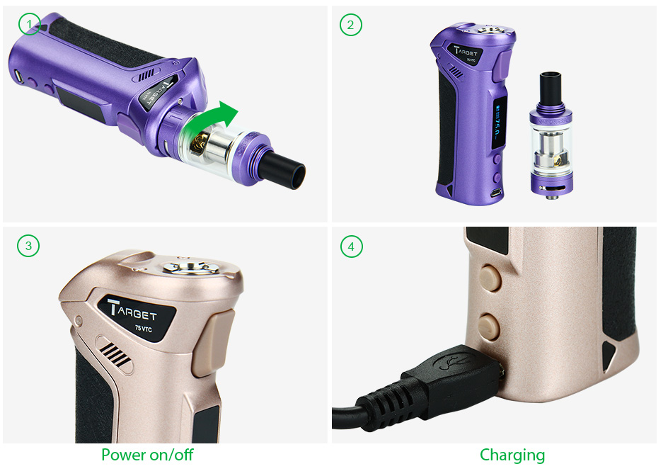 75W Vaporesso TARGET VTC Kit with Ceramic cCELL Coil Tank W/O Battery, Purple & Rose Gold