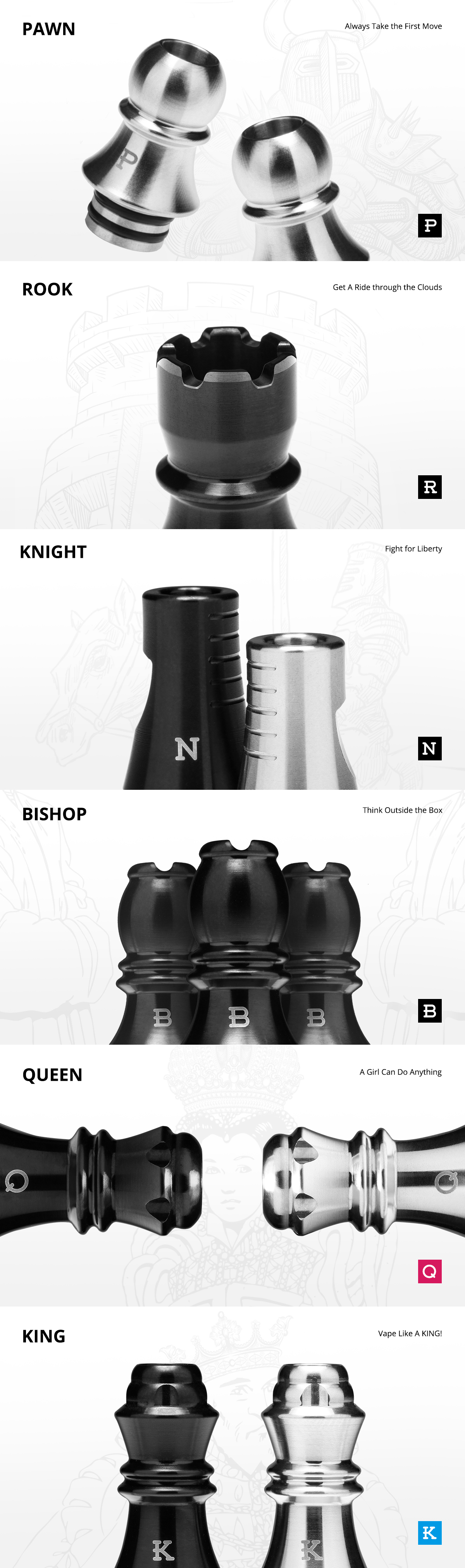 KIZOKU Chess Series Drip Tip 6pcs