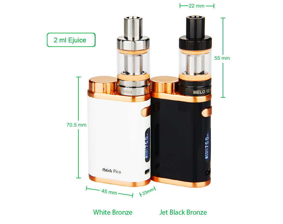 75W Eleaf iStick Pico TC Full Kit W/O Battery - Jet Black Bronze & White Bronze