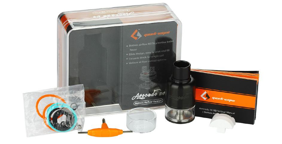 GeekVape Avocado 24 RDTA Tank dengan Bottom Airflow - 4ml, Black