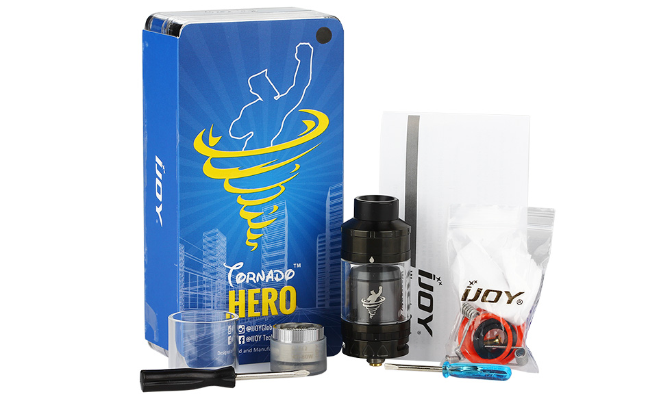 IJOY Tornado Hero RTA & Sub Ohm Tank - 5.2ml, Black