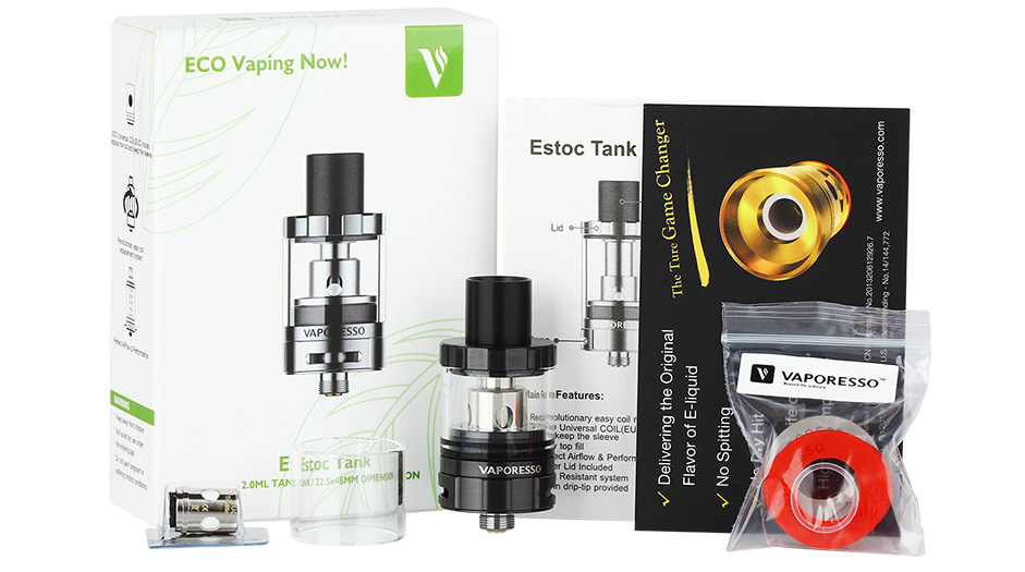 Vaporesso Estoc Tank With EUC Coil - 2ml, Black