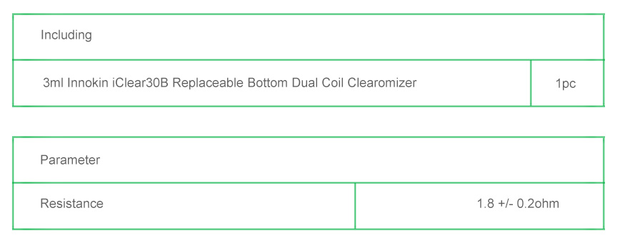3ml Innokin iClear 30B BDCC (Bottom Dual Coil Changeable) Clearomizer