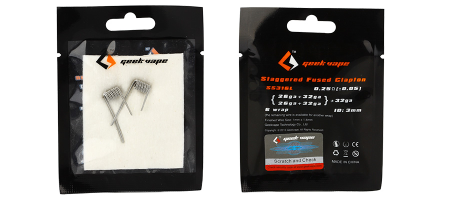 2pcs GeekVape Staggered Fused Clapton SS316L Coil