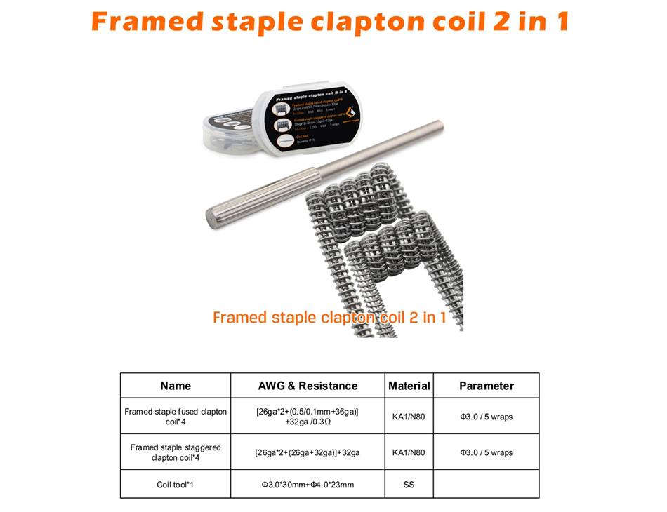 8pcs GeekVape Framed Staple Coil 2 In 1 (5 Wraps)
