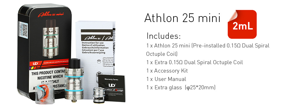UD Athlon 25 Mini Sub Ohm Tank - 2ml