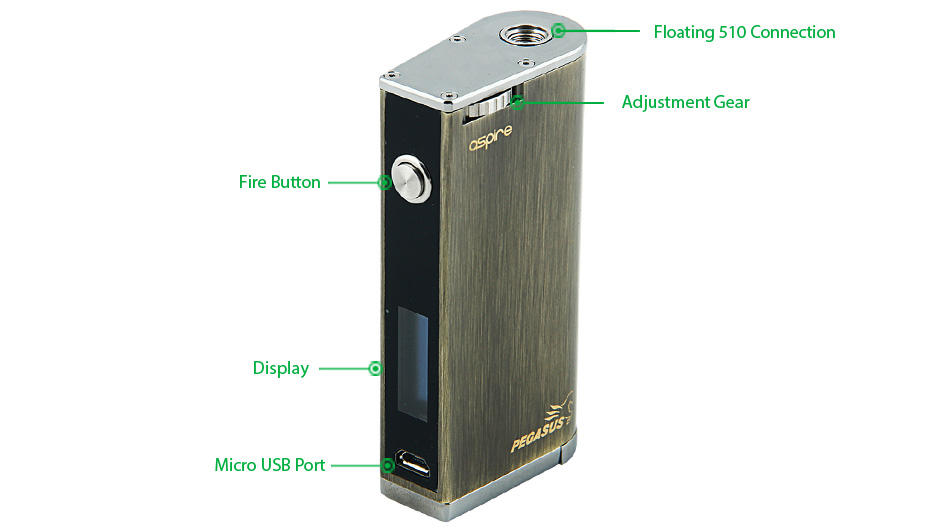 70W Aspire Pegasus 18650 VW/TC Box MOD, W/O Battery