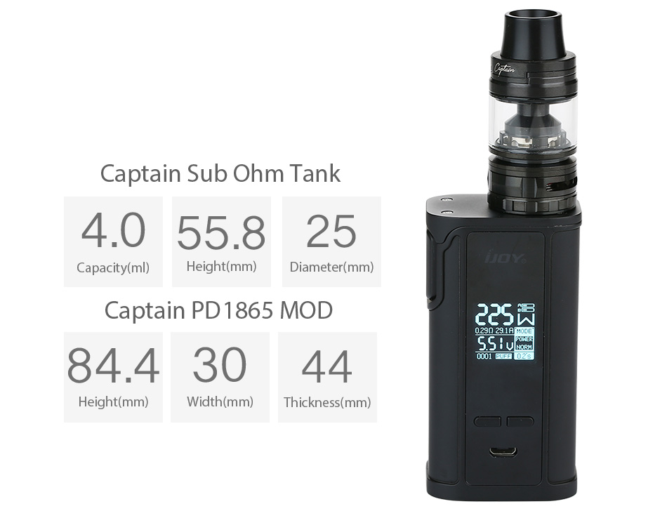 225W IJOY Captain PD1865 with Captain Tank TC Kit W/O Battery