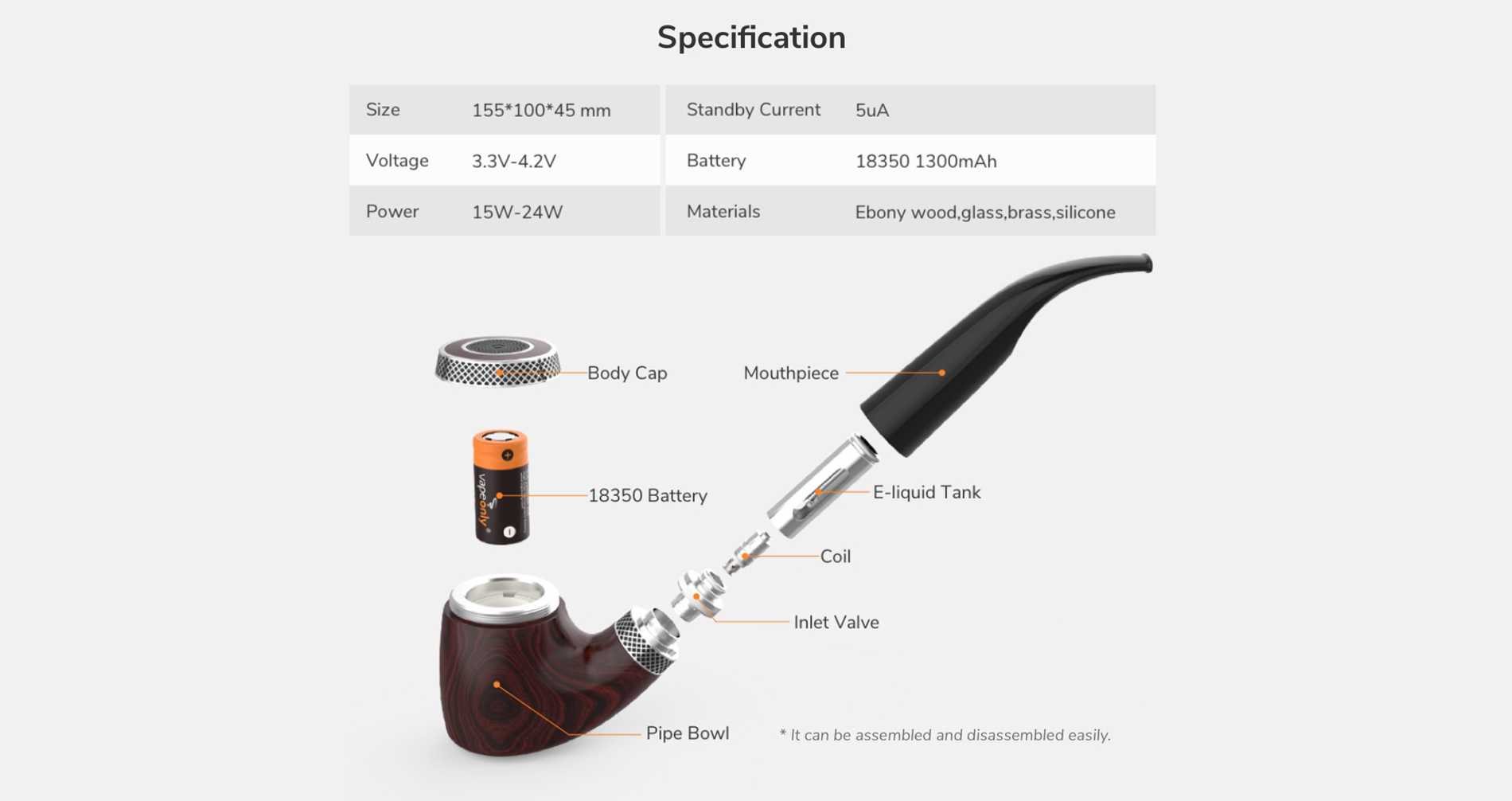 VPipe III Ebony e-Pipe 18350 1.2ml 24W 1300 notice pipe mAh - Vapeonly