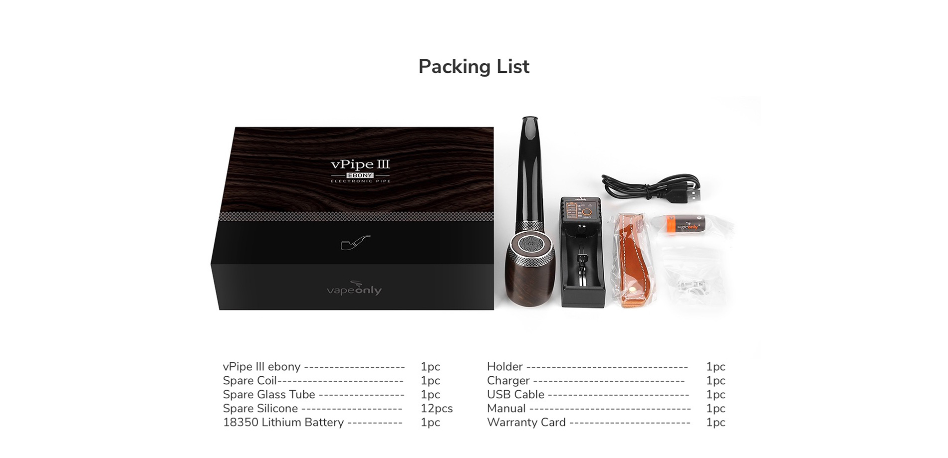 VapeOnly vPipe III Ebony e-Pipe 18350 Kit 1300mAh