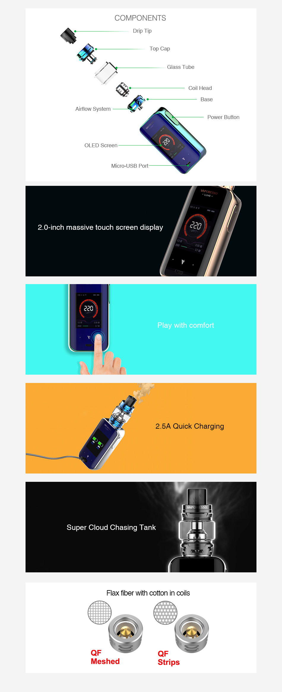 Vaporesso Luxe S 220W Touch Screen TC Kit mit SKRR-S
