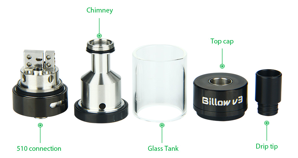 Ehpro Billow V3 RTA Tank Atomizer - 4.6ml, Hitam