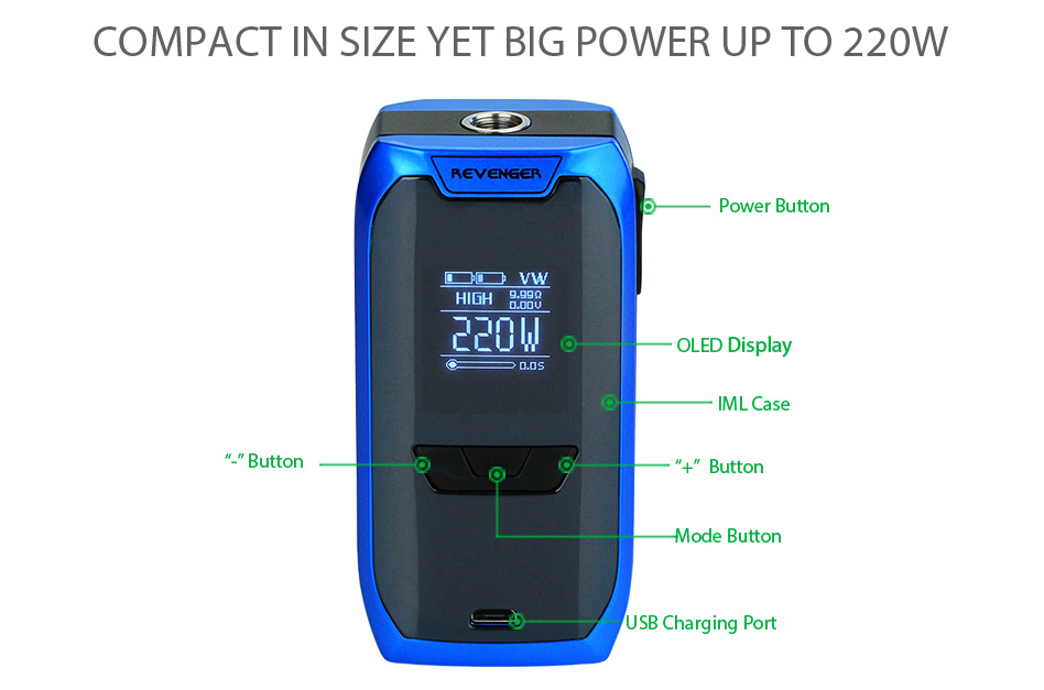 220W Vaporesso Revenger TC Kit with NRG Tank W/O Battery