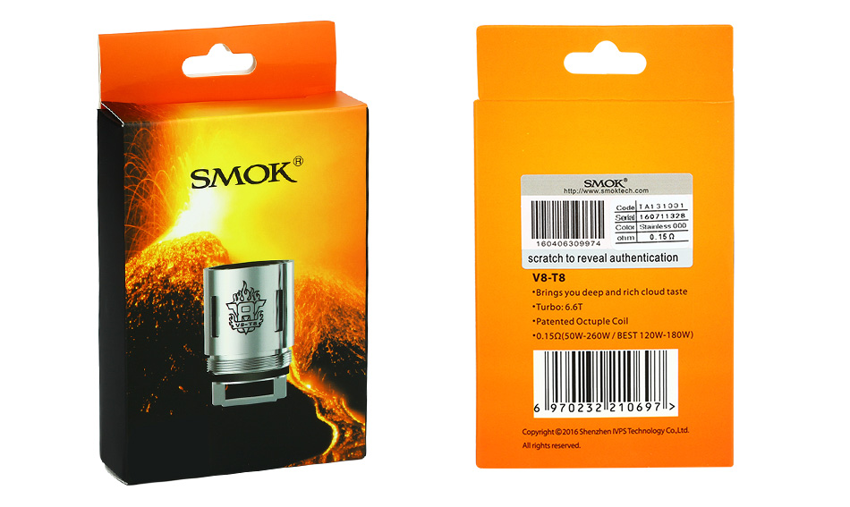 3pcs SMOK TFV8 V8-T8 Head/Patented Octuple Coils
