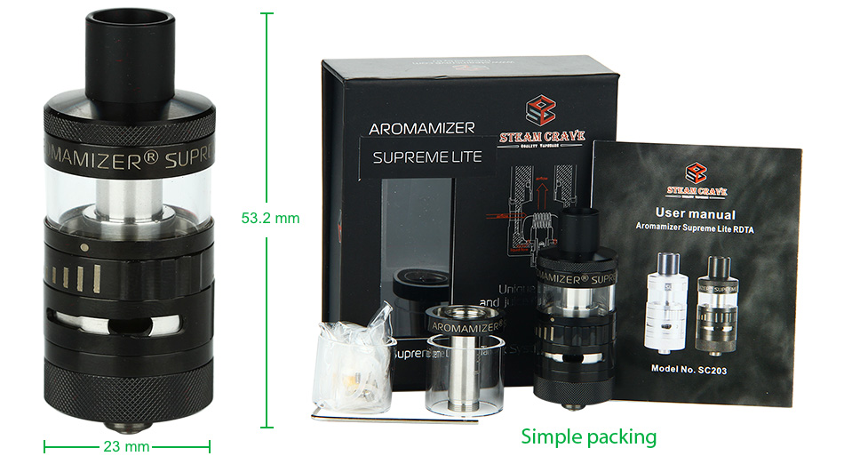Steam Crave Aromamizer Supreme Lite RDTA - 2ml+5ml, Black