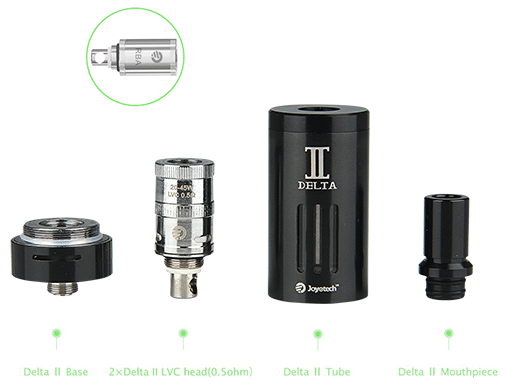 Joyetech Delta II Sub Ohm Atomizer Kit - 3.5ml, Black