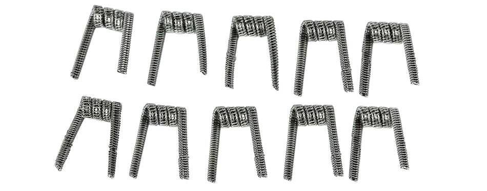 10pcs UD Staple Staggered Fused Clapton KA1 Coil (26GA+32GA)x2+Ribbonx2+34GA