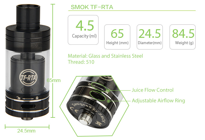 SMOK TF-RTA Tank - 4.5ml, Black
