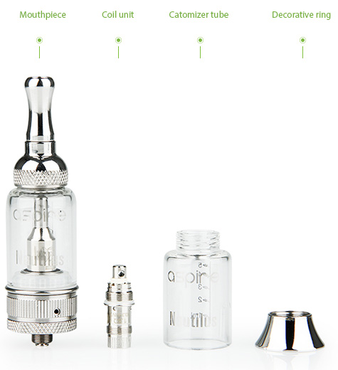 Aspire Nautilus BVC Airflow Adjustable Pyrex Glass Clear Cartomizer_Clearomizer - 5ml