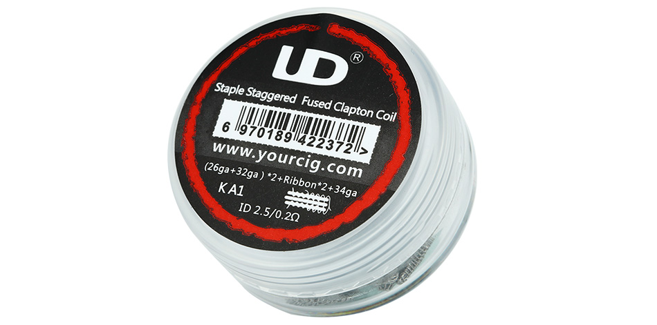 10pcs UD Staple Staggered Fused Clapton KA1 Coil (26GA + 32GA) x2 + Ribbonx2 + 34GA