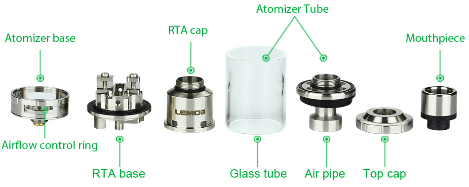 Eleaf Lemo 3 Atomizer With RTA Base - 4ml, Silver