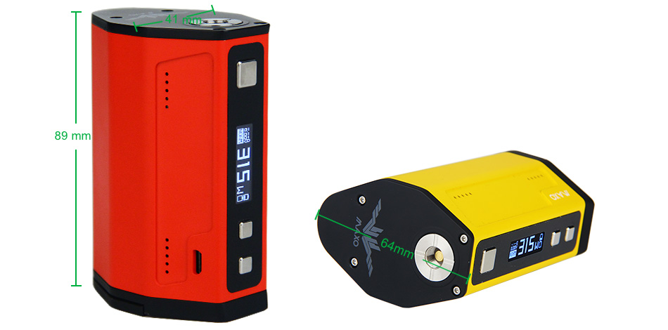 15W IJOY MAXO QUAD 18650 TC BOX MOD W/O Battery - Black, Red & Yellow