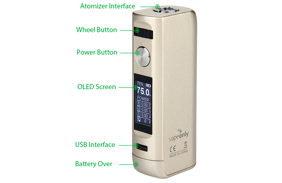 75W VapeOnly Lancer TC MOD W/O Battery