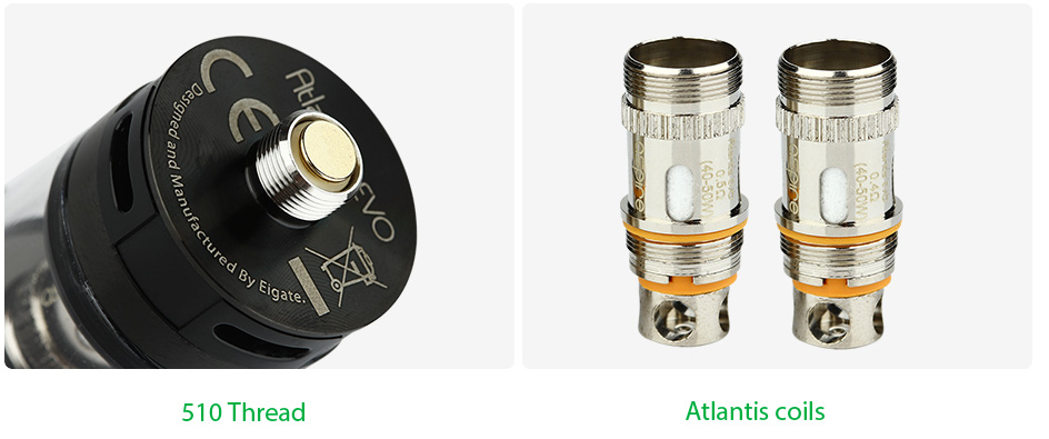 Aspire Atlantis EVO Extended Tank Kit with 4ml Replacement Tube, Black & White