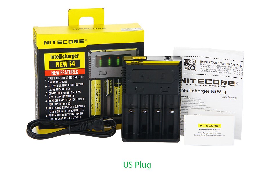 Nitecore Intellicharger New I4 Li-ion/NiMH Battery 4-slot Charger