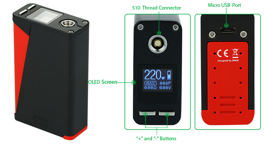 220W SMOK H-PRIV TC Kit W/O Battery - Black