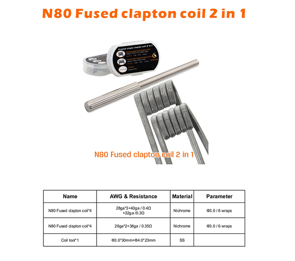 8pcs GeekVape N80 Fused Clapton Coil 2 In 1