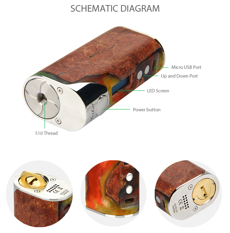 Arctic Dolphin Arthur 80w Tc Stabilized Wood Mod W O Battery Micro Usb Box Wiring Diagram Facade Design Single 18650 Support Cuv Ss Ni Ti Tcr Wires Charging Atomizer Ohm Adjustment Interface