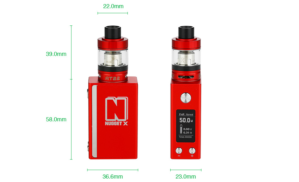 Artery Nugget X 50W with AT22 TC Starter Kit 2000mAh