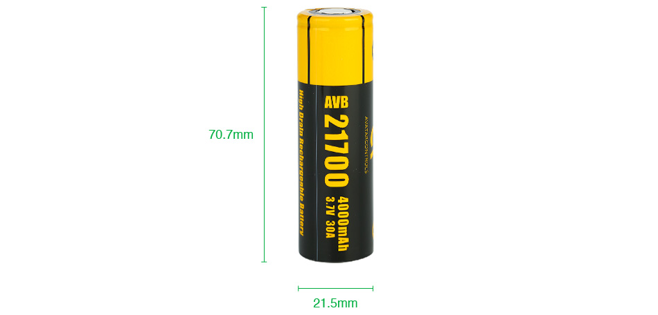 Avatar AVB 21700 High-drain Li-ion Battery 30A 4000mAh