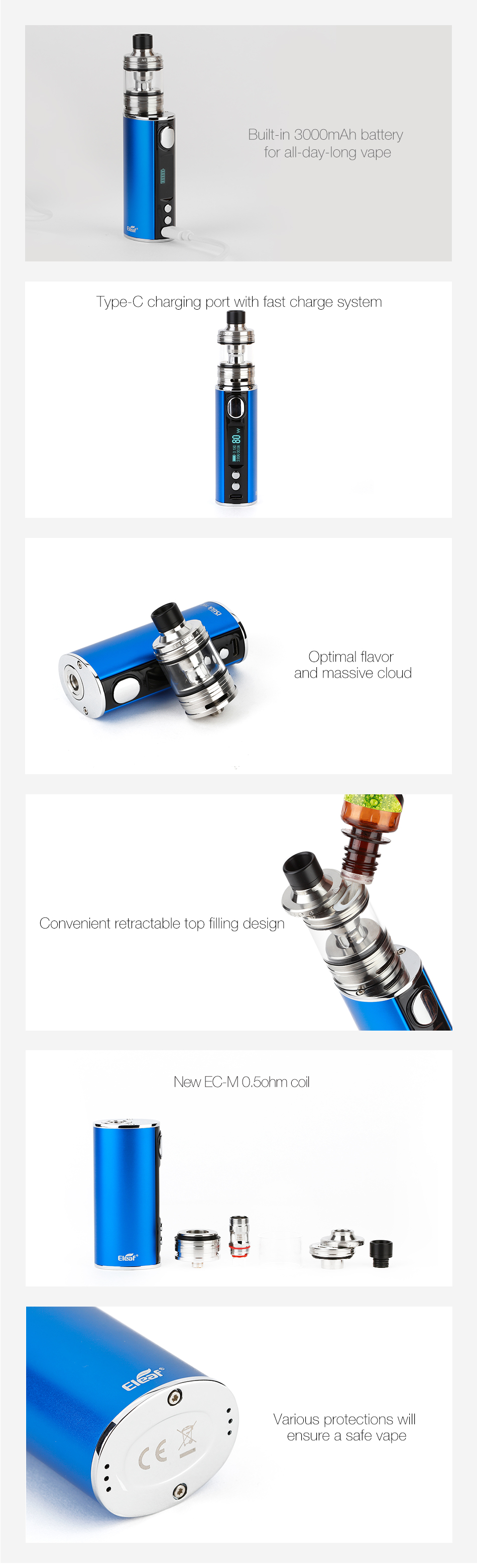 Eleaf iStick T80 Kit with MELO 4 D25 3000mAh(颜色全)