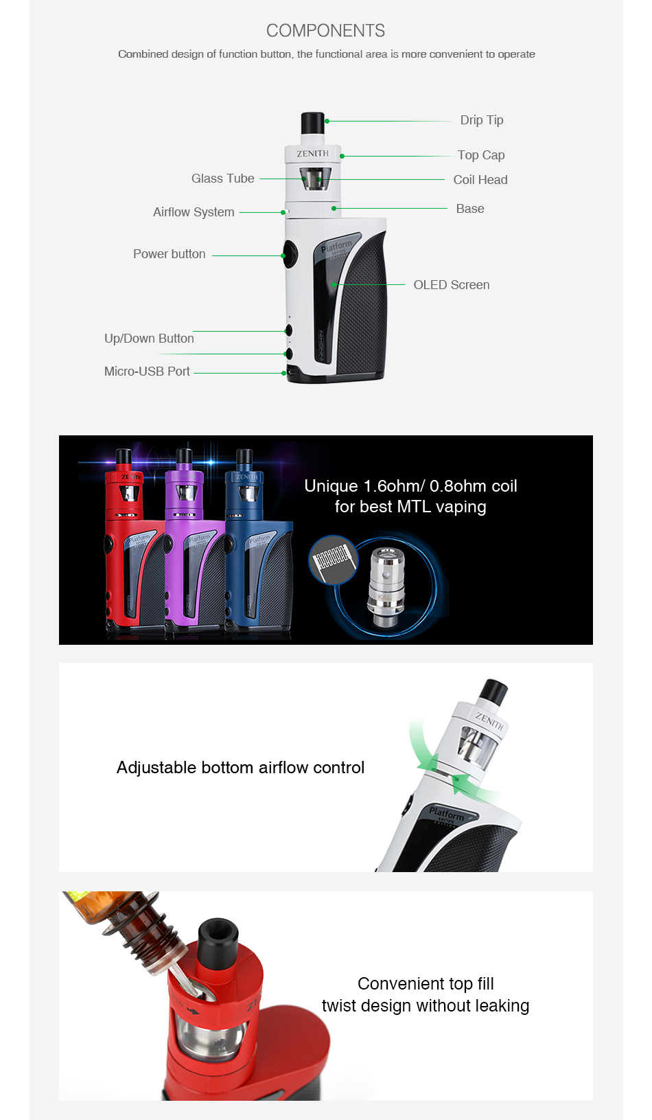 Innokin Kroma-A 75W TC Kit with Zenith Atomizer 2000mAh