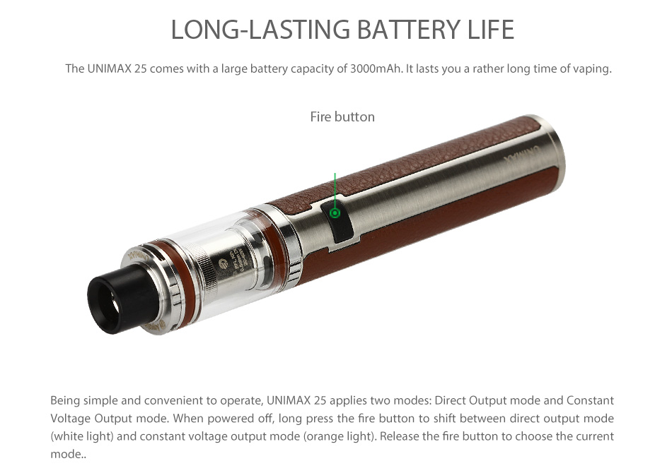 unimax. tfta-tank with whole detachable structure. new bfl coils for total pure flavor. unimax battery long-lasting power. changeable stickers to color your unimax