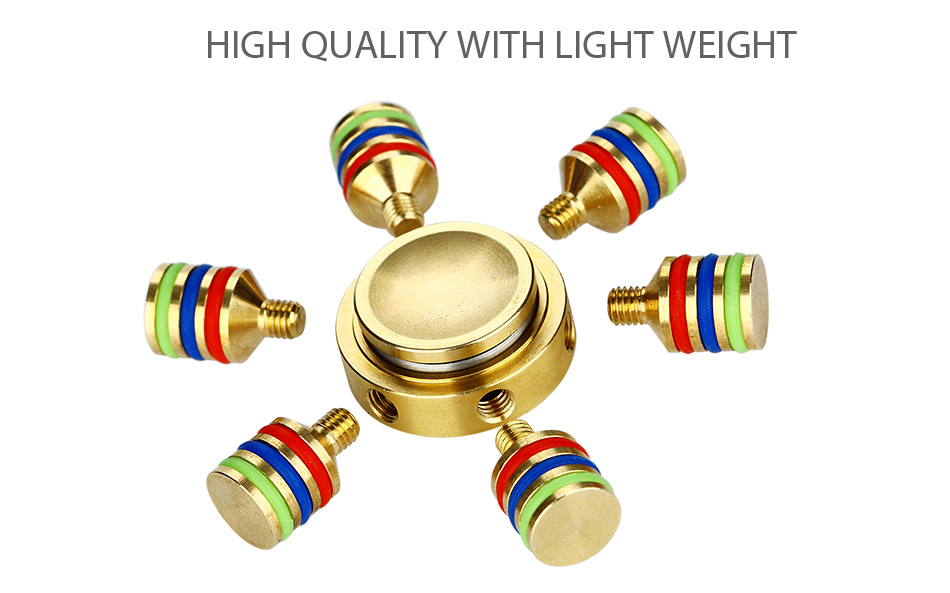 Luminous EDC Hand Spinner dengan Six Spins - Brass