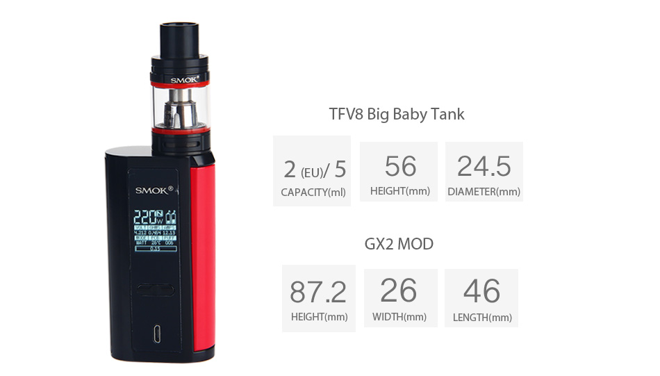 Kit SMOK GX2 / 4 TC dengan TFV8 Big Baby W / O Battery