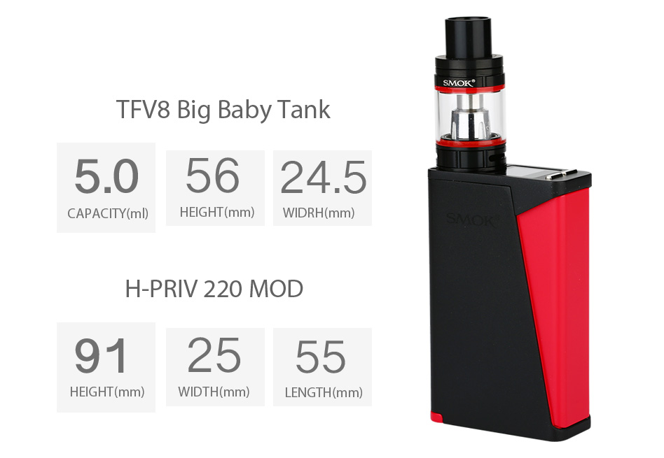 SMOK H-PRIV PRO с TFV8 Big Baby Kit W / O Battery