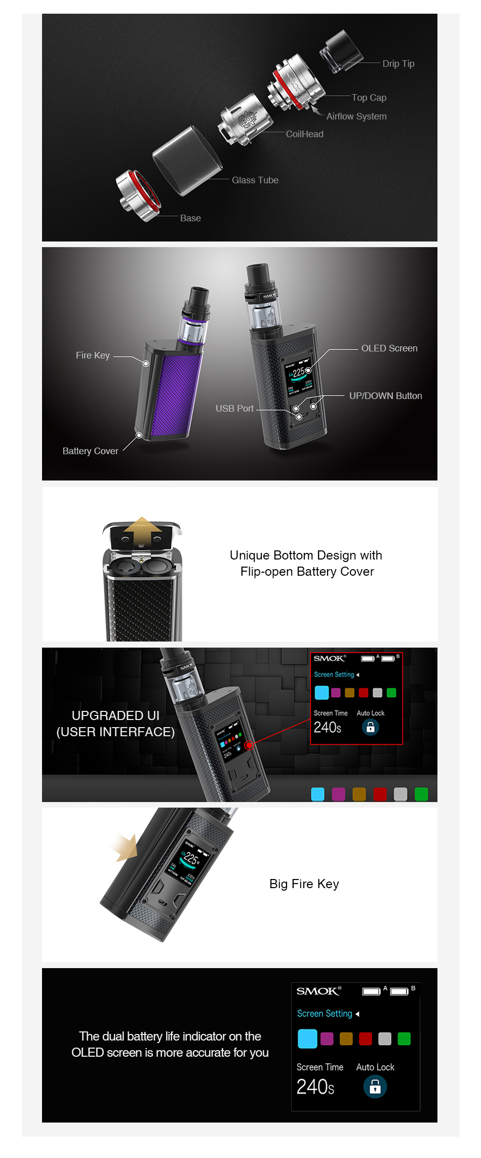 SMOK Majesty 225W TC Kit with TFV8 X-Baby