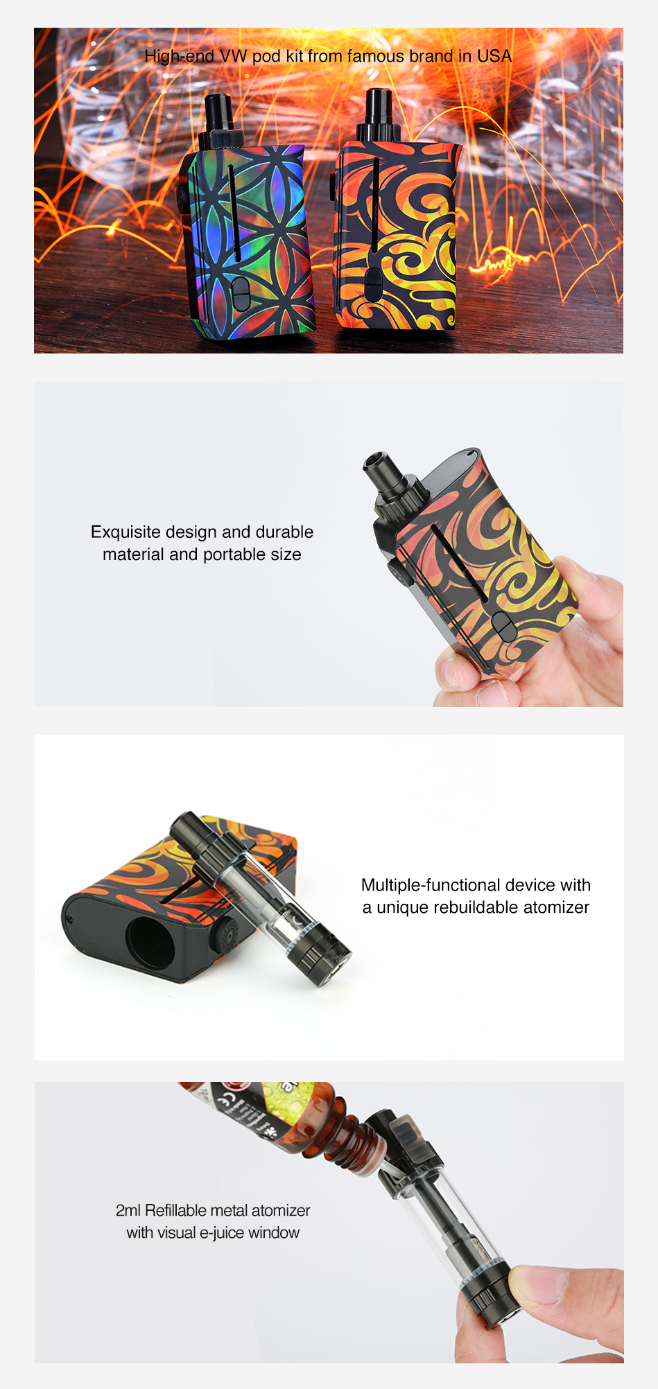 Squid Industries Squad Rebuildable VW Pod Kit 950mAh