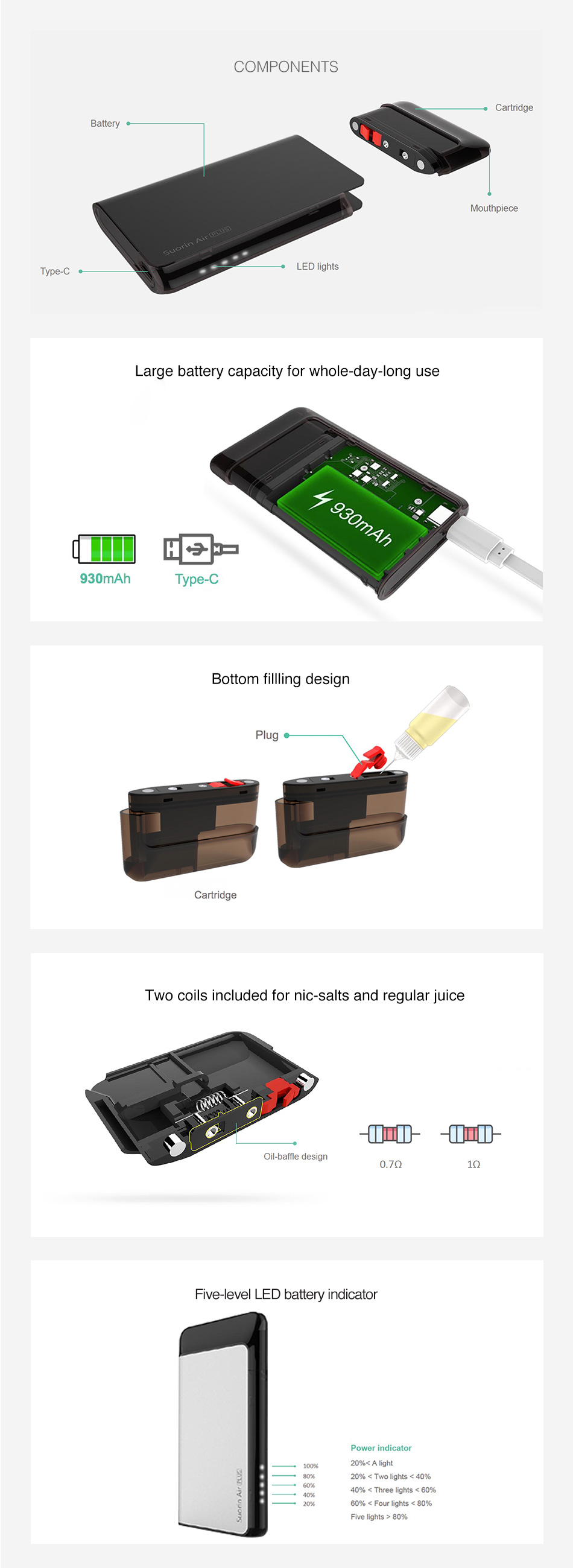 Suorin Air Plus Pod System Kit 930mAh
