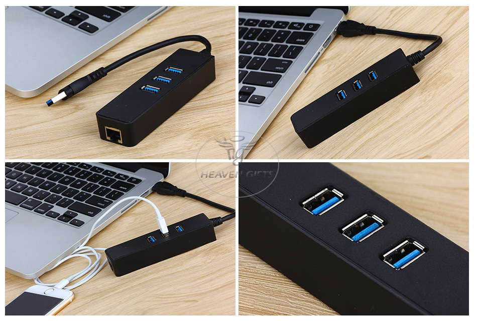 USB 3.0 3-Port HUB with Gigabit Ethernet Adapter
