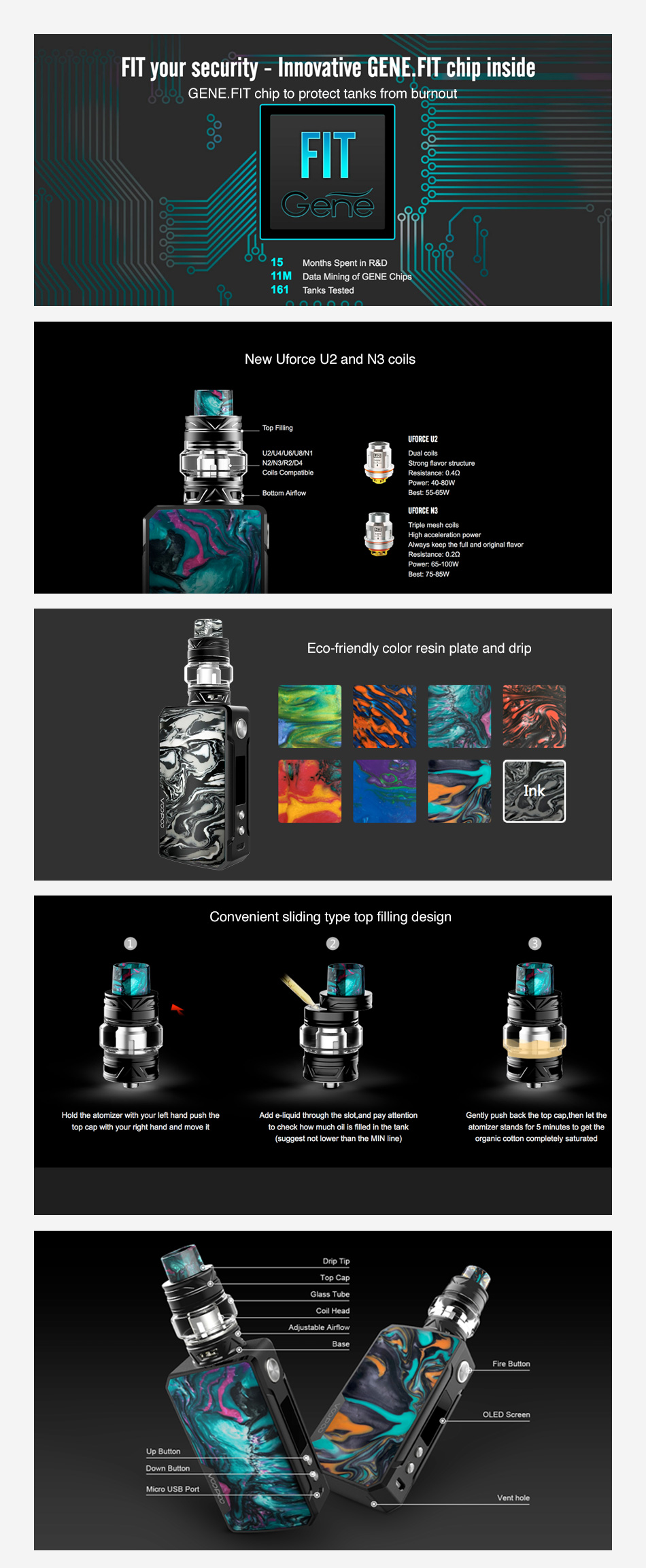 Kit VOOPOO Drag 2 177W TC com UFORCE T2