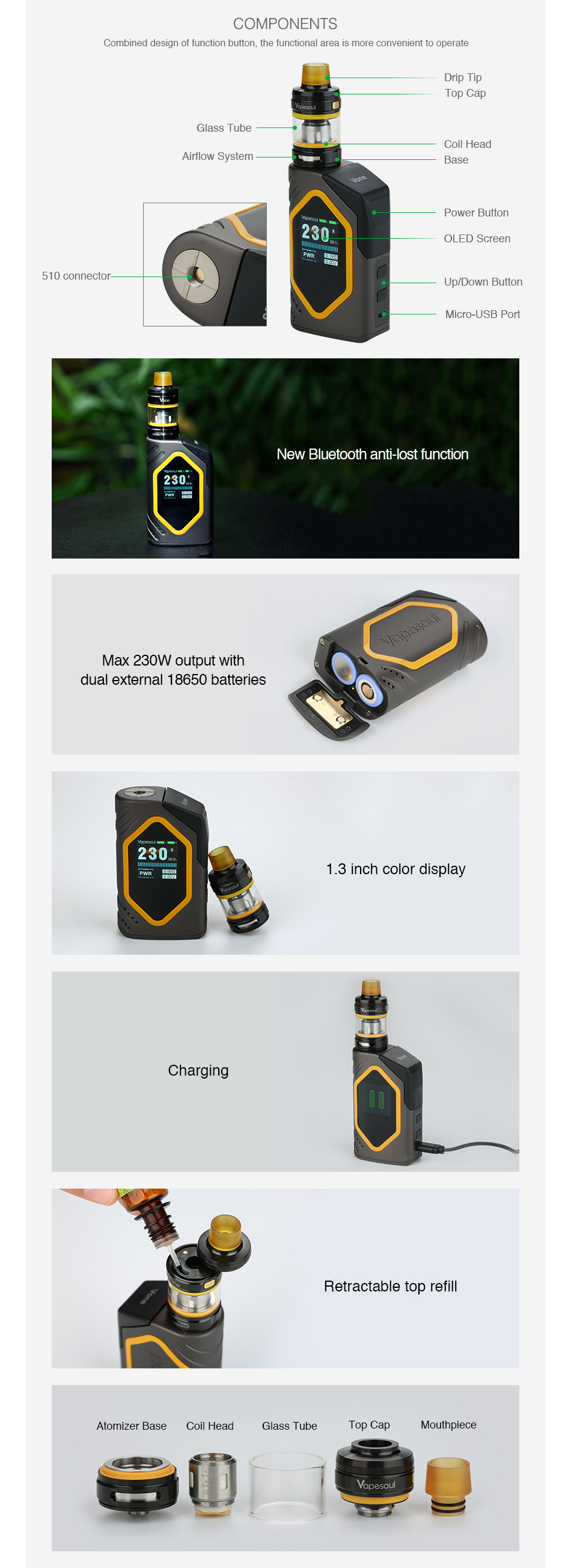 Vapesoul Vone 230W Bluetooth TC Kit