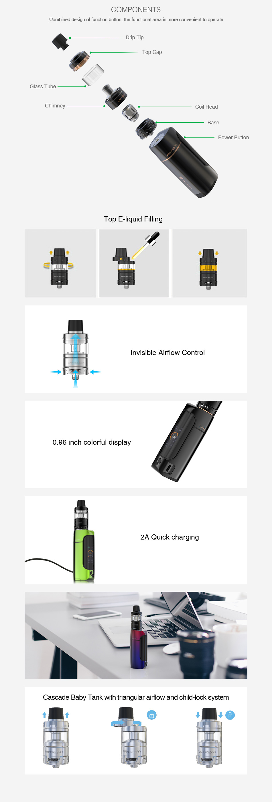 Vaporesso Armour Pro 100W TC Kit with Cascade Baby - w/o Battery