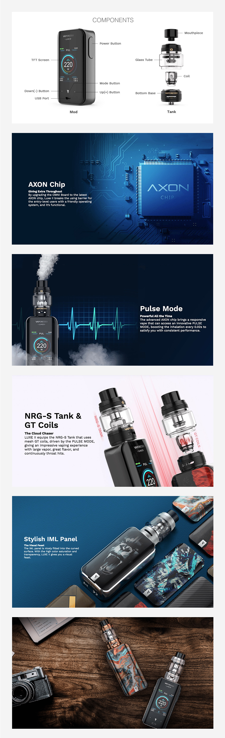 Kit Vaporesso Luxe II 220W TC com tanque NRG-S