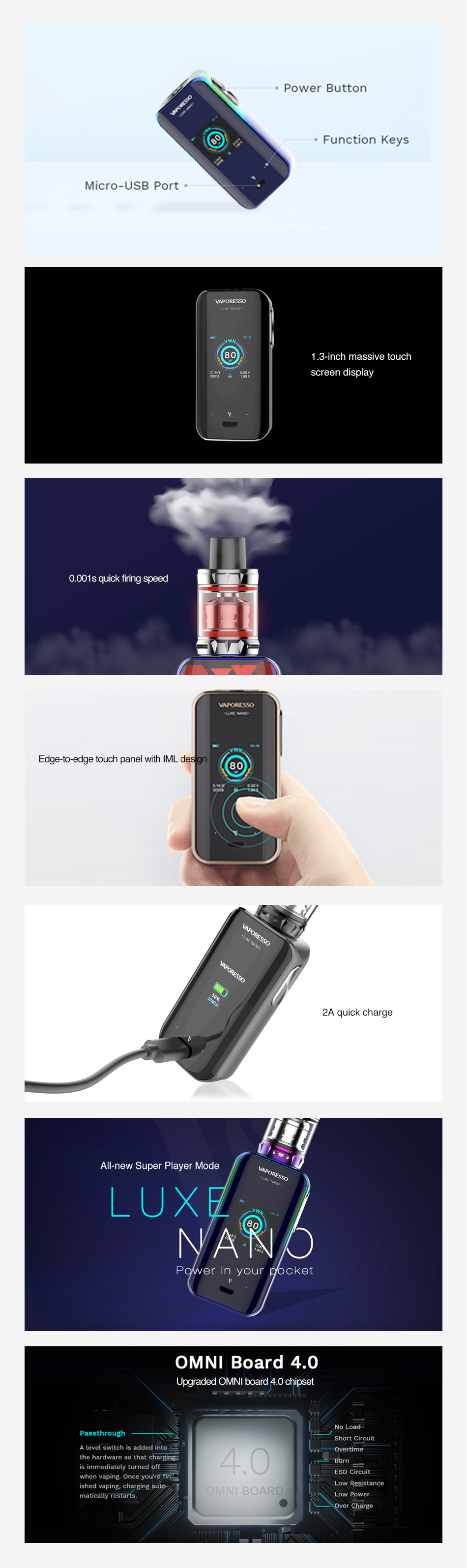 Vaporesso Luxe Nano 80W Touch Screen TC MOD 2500mAh