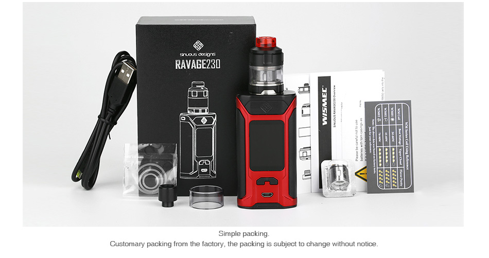 WISMEC SINUOUS RAVAGE230 200W with GNOME Evo TC Kit
